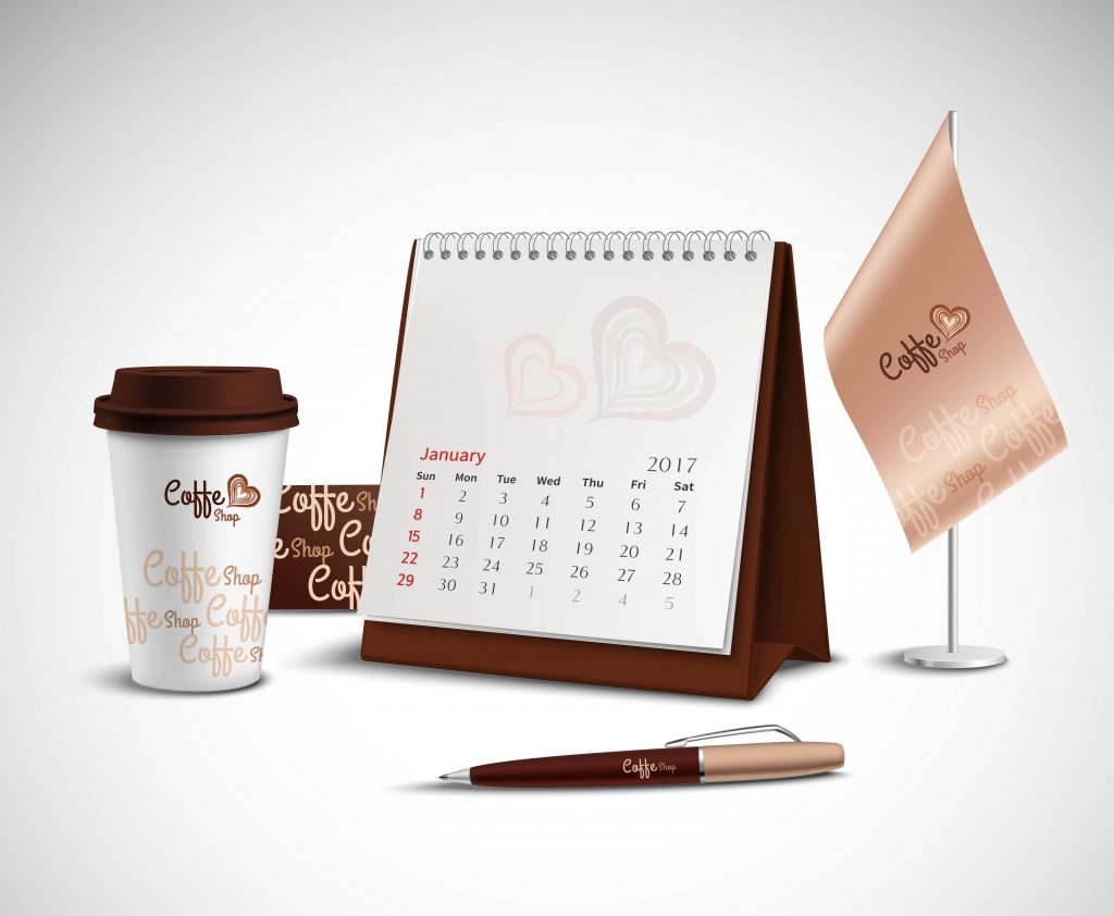 Calendar pen flag and glass corporate identity mockup set with design for coffee shop on light background realistic vector illustration